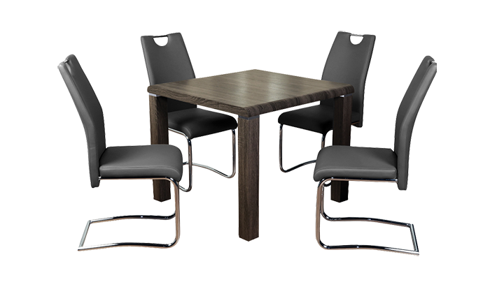 Dining Set Charcoal with Claren Grey Chairs