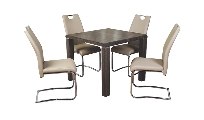Dining Set Charcoal with Claren Khaki Chairs