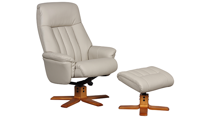 Riviera Manual Swivel Recliner- Bone