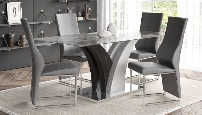 Stefano 160cm Glass Dining Set (4 Grey Chairs)