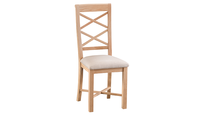 Double Cross Back Chair with Fabric Seat