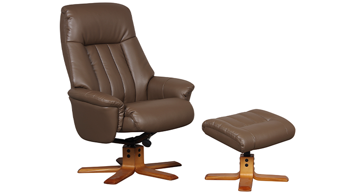 Riviera Manual Swivel Recliner- Truffle