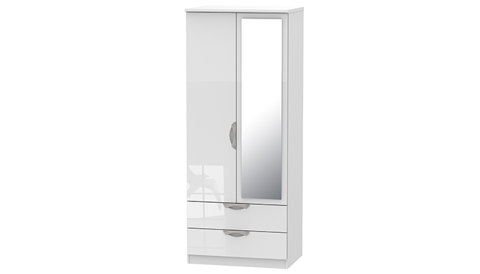 2ft6in 2 Drawer Mirror Robe