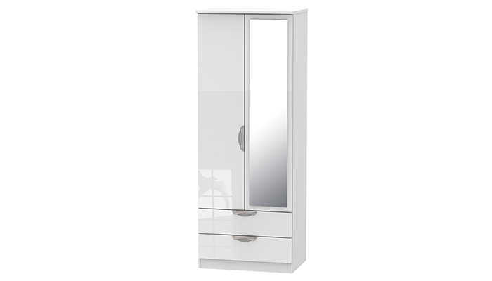 Tall2ft6in 2 Drawer Mirror Robe