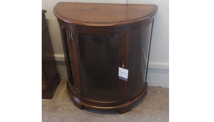 Demi Lune Display Cabinet in Antique Cherry Finish with Cross Banded Top